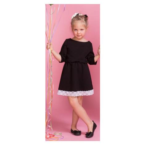 Nádherné Pletené dívčí šaty dětské s krajkou a elastický pásem