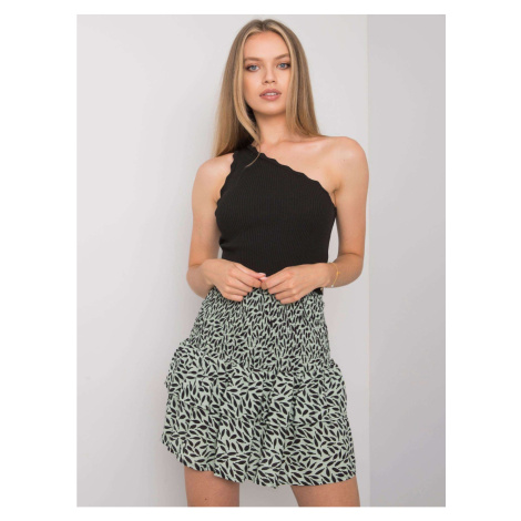 RUE PARIS Green and black skirt with a frill Fashionhunters