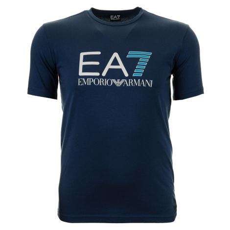 Pánské modré tričko s plastickým potiskem Emporio Armani