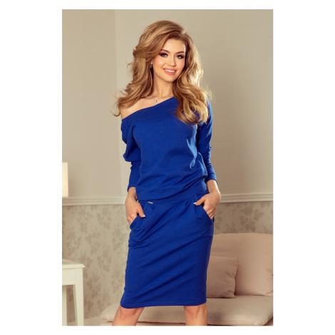 Dámské teplákové šaty v chrpové barvě s výstřihem na zádech model 5917774 NUMOCO