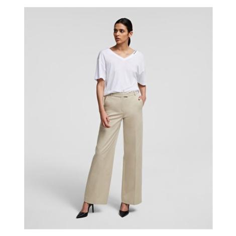 Kalhoty Karl Lagerfeld Wide Leg Cotton Pants W/ Logo - Hnědá