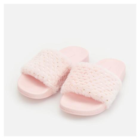 Reserved - Pantofle s umělým kožíškem - Růžová