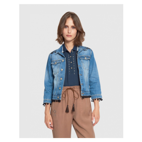 Bunda La Martina Woman Outdoor Denim Fisso 11.5 - Modrá