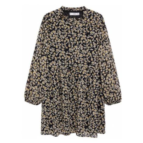 MANGO Šaty černá / žlutá / bílá