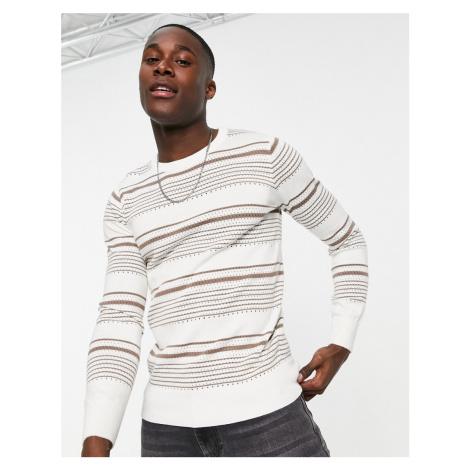 Gianni Feraud brown crochet stripe crew neck jumper-White Féraud