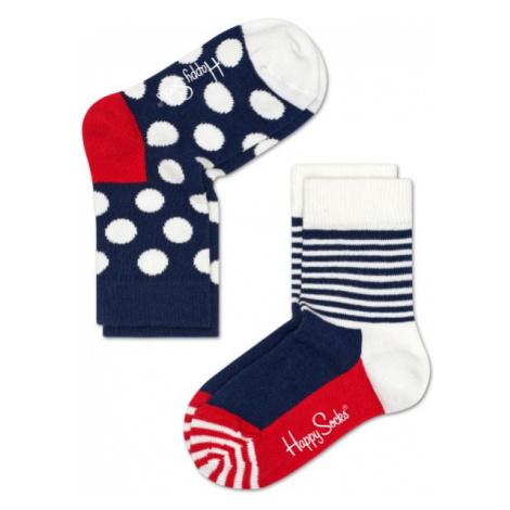 Dětské barevné ponožky Happy Socks, dva páry - Half Stripe a Big Dot