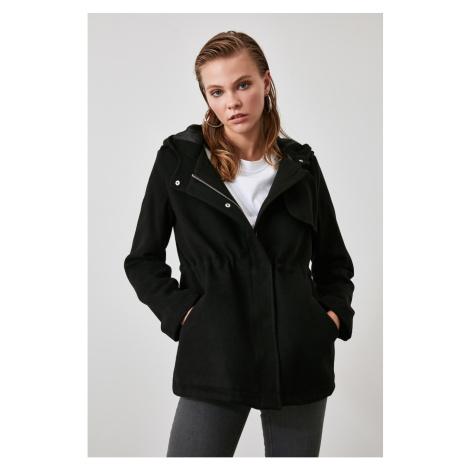 Trendyol Black Hooded Zipper Closed Stamp Coat