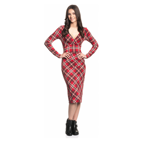 Červené šaty s dlouhým rukávem Vive Maria Anglická Rebelka