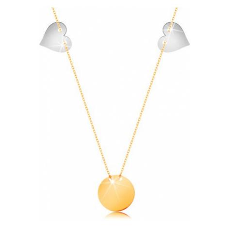 Zlatý náhrdelník 585 - tenký řetízek, lesklý plochý kruh, dvě srdce z bílého zlata Šperky eshop
