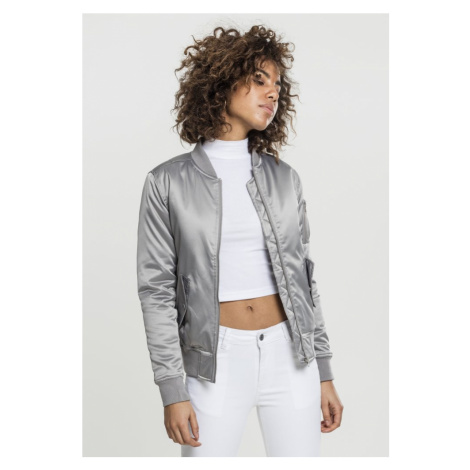 Bunda Urban Classics Ladies Satin Bomber Jacket - silver