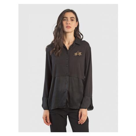 Košile La Martina Woman Viscose Jersey Shirt L/S - Černá
