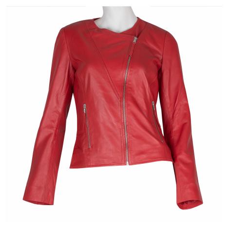 Červená dámská kožená bunda