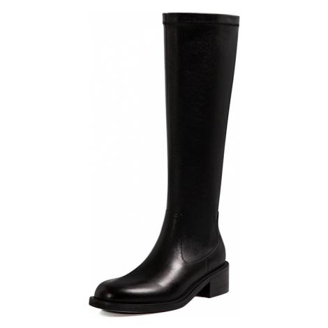 Elegantní kožené kozačky pod kolena kvalitní boty z přírodní kůže