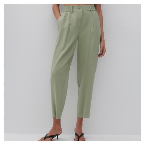 Reserved - Kalhoty paperbag - Zelená