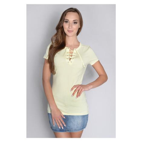 Tričko s vázáním v dekoltu barva pastelově žlutá
