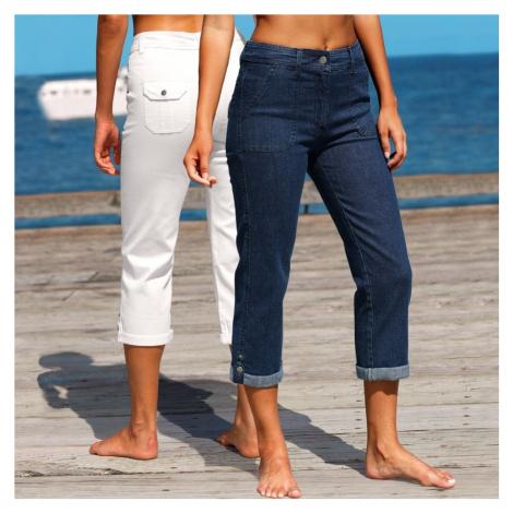 Džínové 3/4 kalhoty s ohrnutím, sada 2 k modrá+bílá