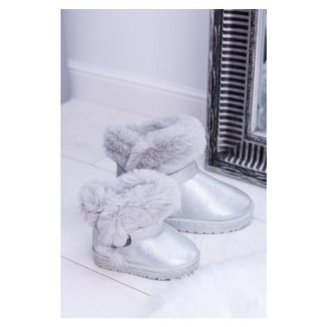 Teplé Dívčí obuv sněhové boty s kožešinovým stříbrem JellyBeans