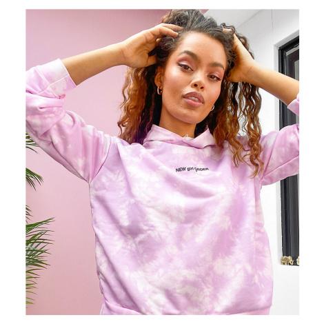 New Girl Order Petite oversized hoodie in lilac tie dye-Purple