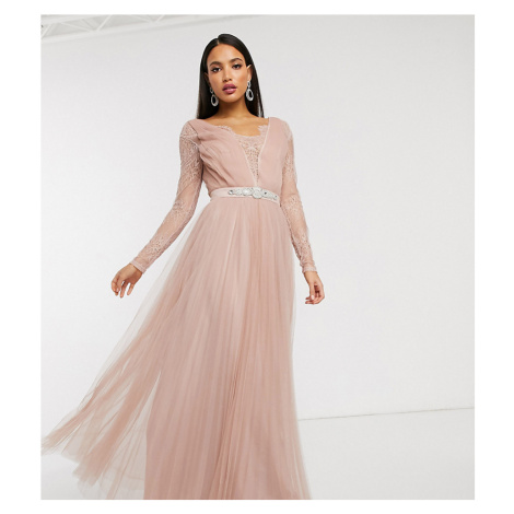 ASOS DESIGN Tall lace sleeve embellished waist trim detail tulle maxi dress-Pink