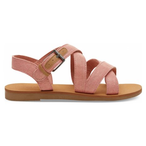Coral Pink Shimmer Canvas Youth Sicily Sandal Toms