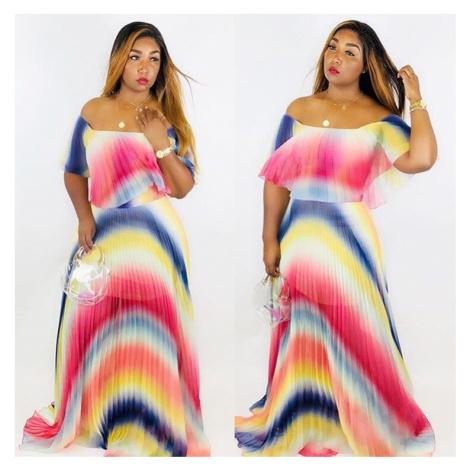 Duhové letní maxi šaty FashionEU