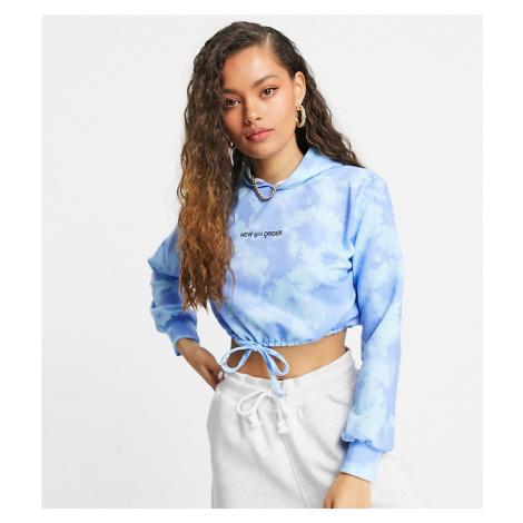 New Girl Order Petite cropped tracksuit hoodie in blue tie dye