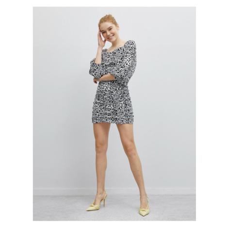 Koton Leopard Print Balloon Sleeve Mini Dress