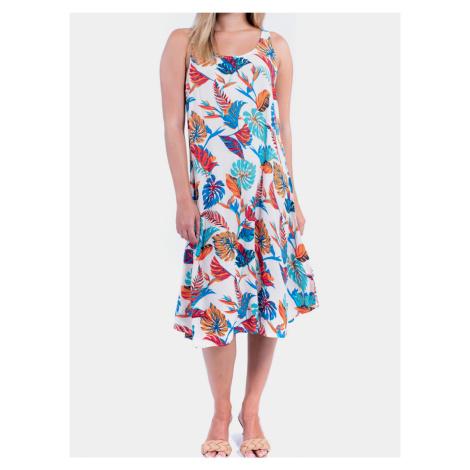 Culito from Spain květované šaty Long Blanco Selva Rosa