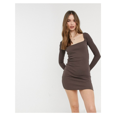 Pull&Bear ribbed square neck dress in brown Pull & Bear
