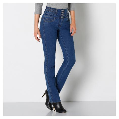 Blancheporte Rovné džíny s vysokým pasem modrá