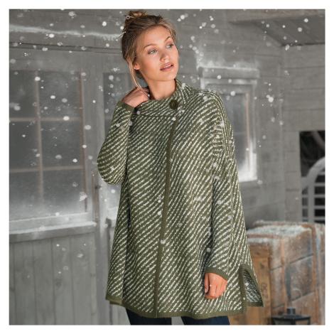 Pruhovaný svetr ve střihu pláště khaki