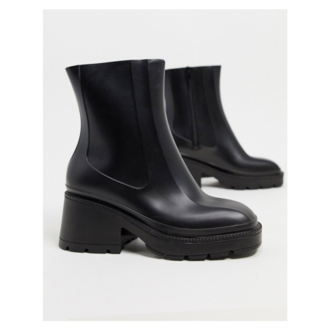 ASOS DESIGN Grounded heeled rain boots in black