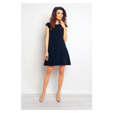 Hladké áčkové šaty tmavě modré s krátkým rukávem