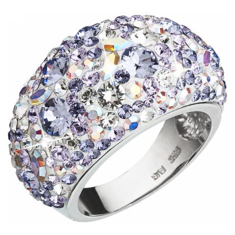 Evolution Group Stříbrný prsten s krystaly Swarovski fialový 35028.3 violet