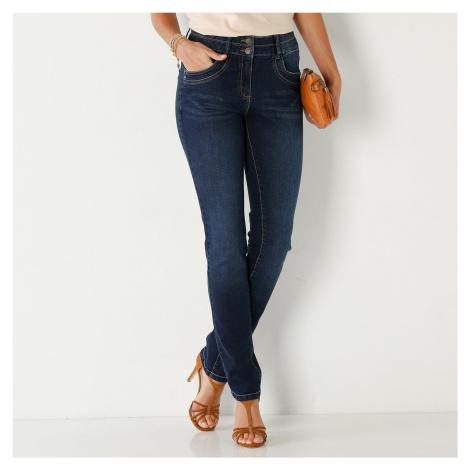 Blancheporte Rovné džíny v opraném vzhledu tmavě modrá