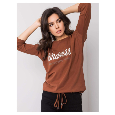 Light brown blouse with the inscription Fashionhunters