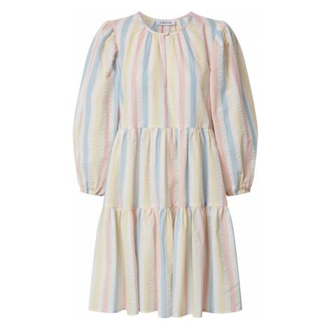 EDITED Šaty 'Joanna' přírodní bílá / růžová / modrá / světle žlutá