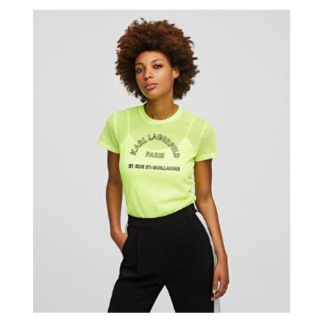 Tričko Karl Lagerfeld Neon Address Mesh Top - Žlutá