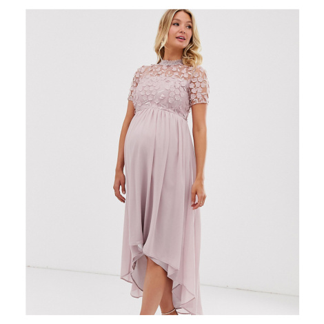 Chi Chi London Maternity lace detail midi dress with high low hem in mink-Pink