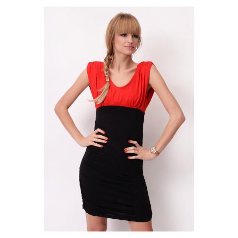 Dvoubarevné šaty bez rukávů s řasením barva červená/černá
