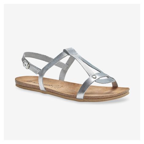 Blancheporte Kožené sandály, stříbrné stříbřitá