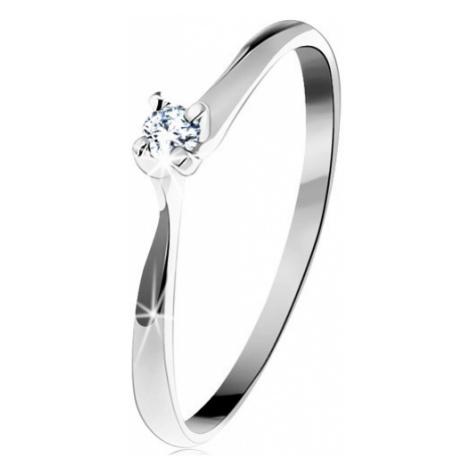Zlatý prsten 585 - třpytivý čirý diamant v čtyřcípém kotlíku, bílé zlato Šperky eshop