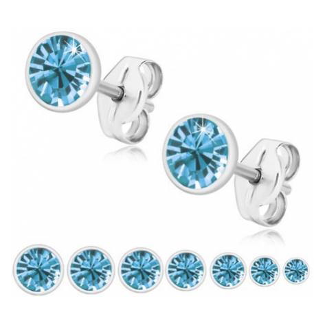 Stříbrné 925 náušnice - blýskavý zirkon v modrém odstínu, lesklá kruhová objímka Šperky eshop
