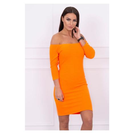 Dress fitted - ribbed orange neon Kesi