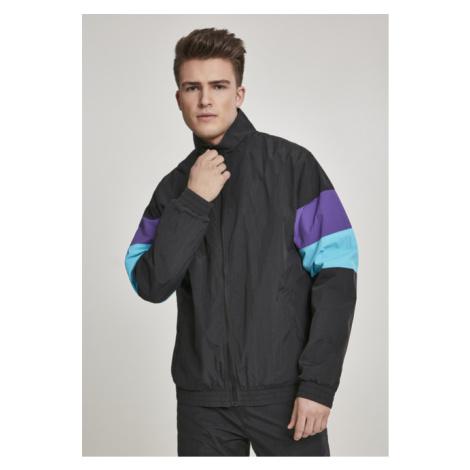 Urban Classics 3-Tone Crinkle Track Jacket black/ultraviolet/aqua