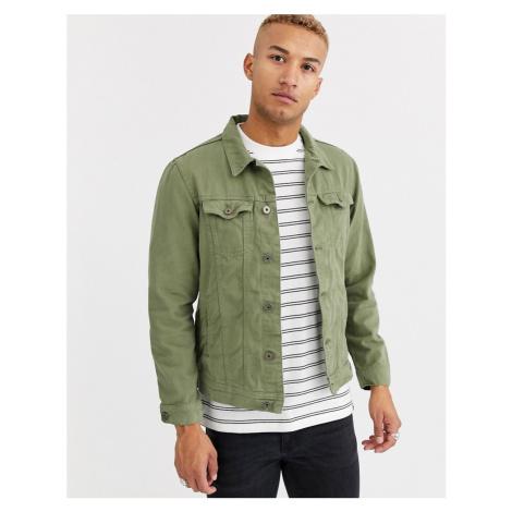 Pull&Bear denim jacket in khaki-Green Pull & Bear