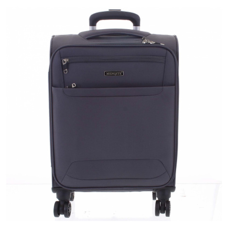 Nadčasový lehký látkový cestovní kufr šedý - Menqite Timeless L