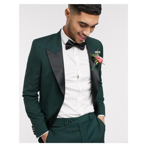 ASOS DESIGN wedding slim tuxedo suit jacket in forest green