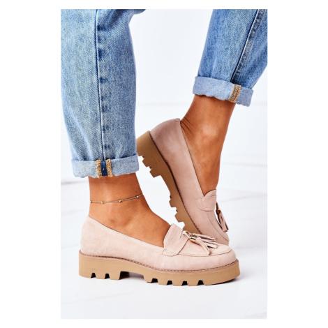Kožené Mokasiny Lewski Shoes 3053 Bílé
