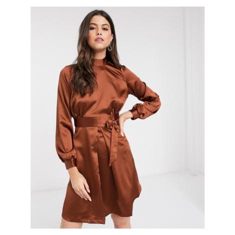 Closet high neck A line dress in brown